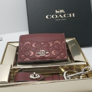Coach Gift Set of Card Case and Valet Key Charm